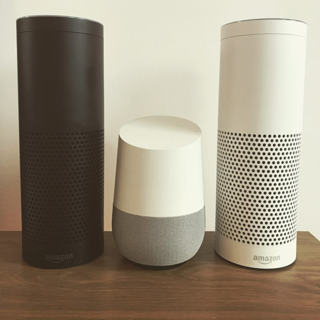 Google Home Amazon Echo Alexa size comparison - DLS Tech