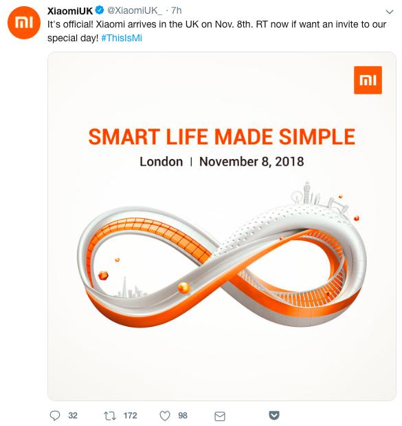 Xiaomi UK Launch Tweet