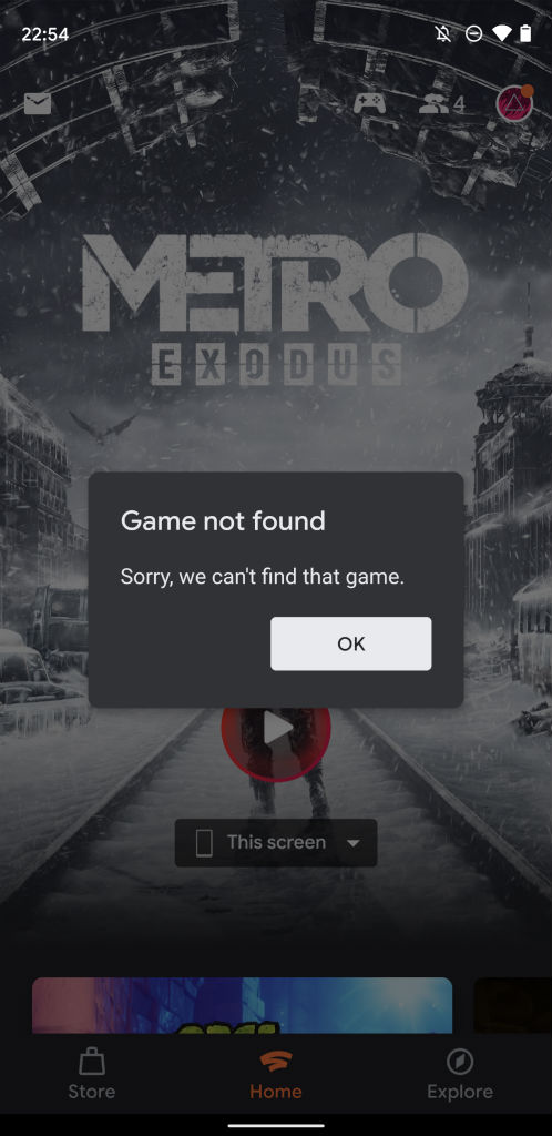 Stadia Click to Play error message